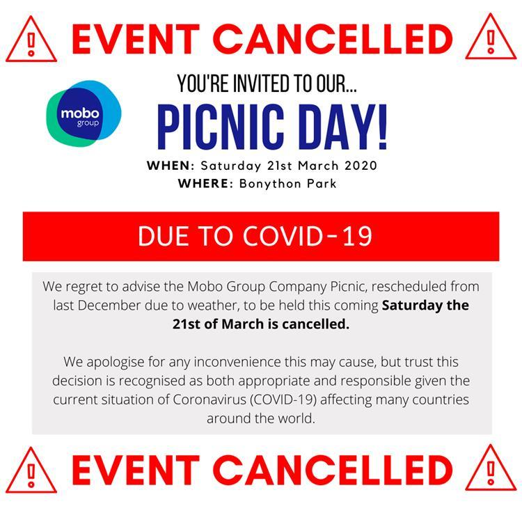 Cancellation of Mobo Group Company Picnic